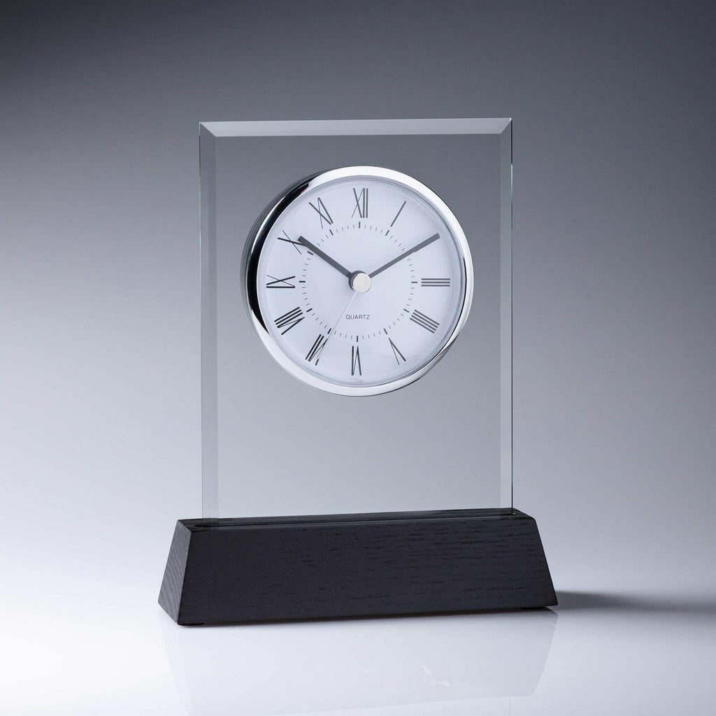 Woodcraft Glass Clock - The Trophy Superstore