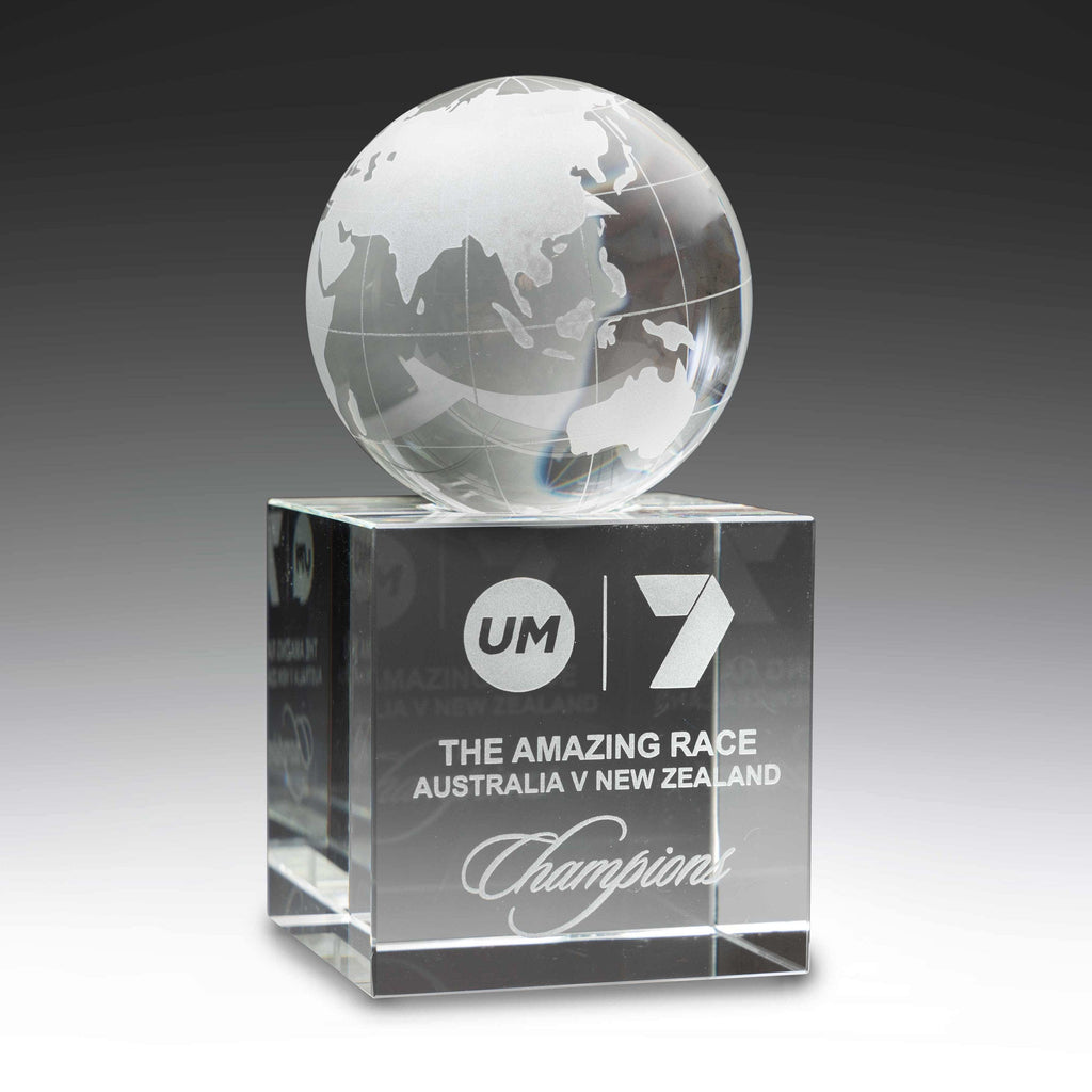 Spinning Crystal Globe Trophy is available in two sizes