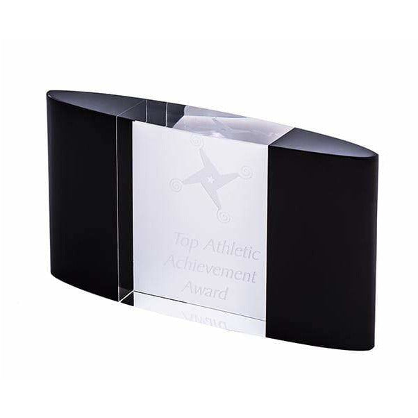 Curved Block Ebony Crystal Award - The Trophy Superstore