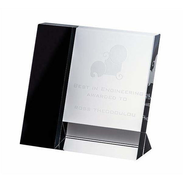 Rectangle Ebony Crystal Award - The Trophy Superstore