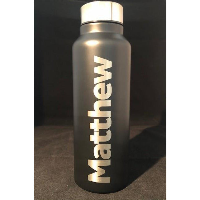 Laserable Matt Black Drink Bottle - available in black only - The Trophy Superstore