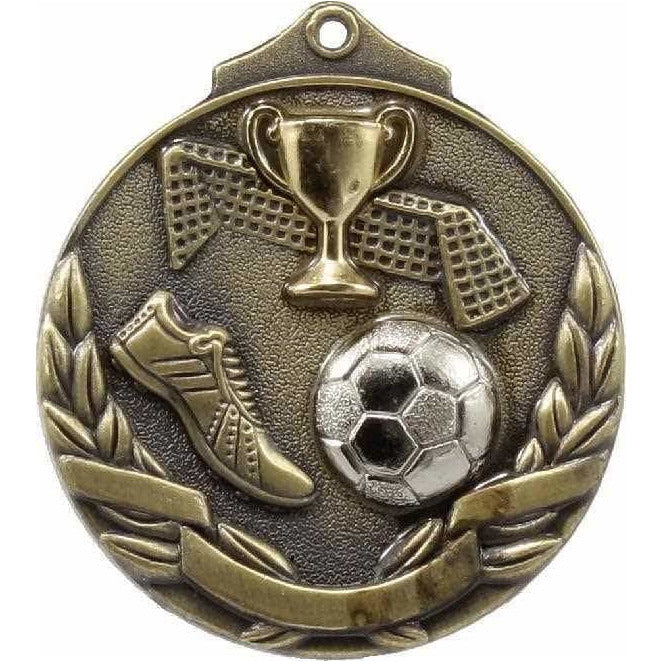 Gold Two Toned Football Medal only available in Gold - The Trophy Superstore
