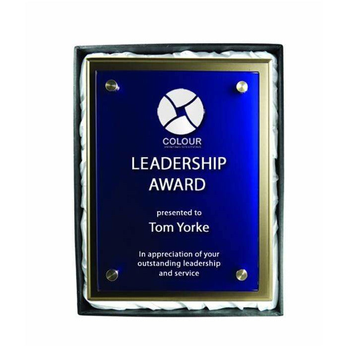 Premium Blue Glass and Silver Plaque