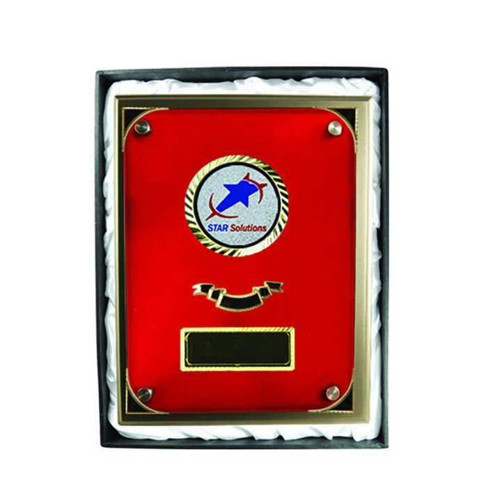 Premium Red Glass and Silver Plaque freeshipping - The Trophy Superstore