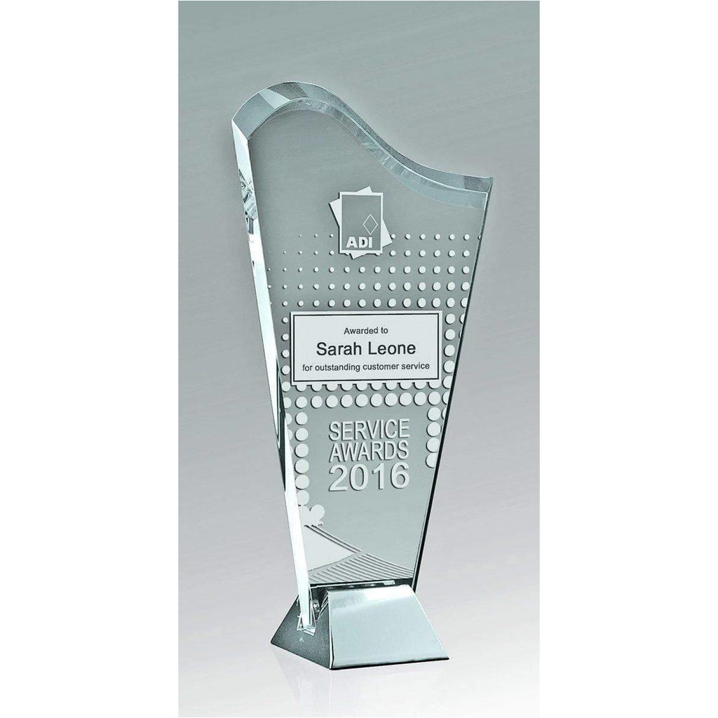 Silver Ice Wave Crystal Trophy available in three sizes