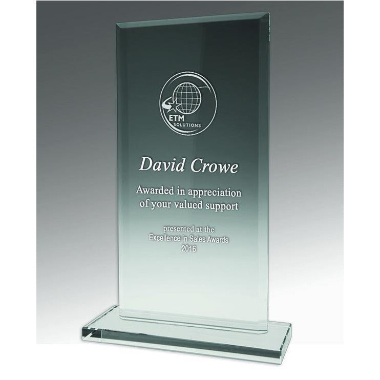 Value Crystal Rectangle Trophy available in three sizes