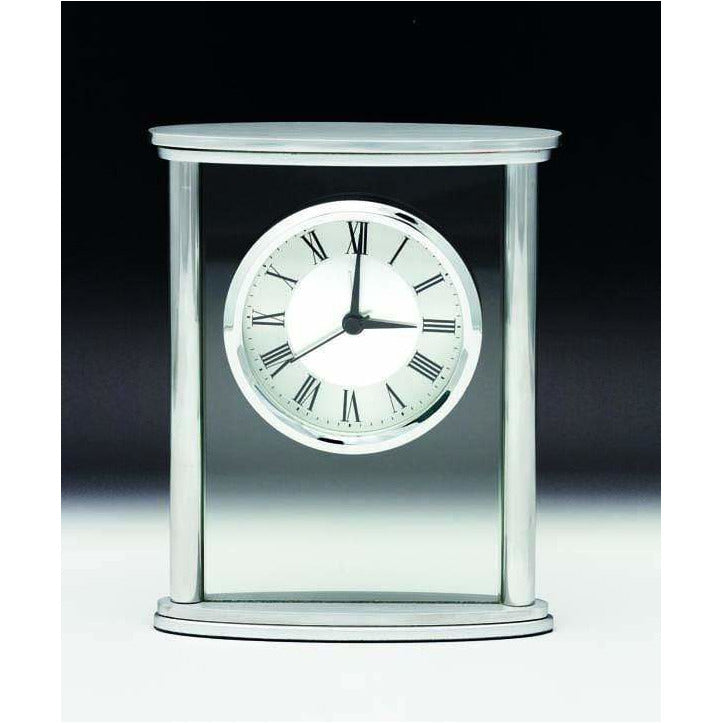 Silver Glass Facia Clock - WCK01 - The Trophy Superstore