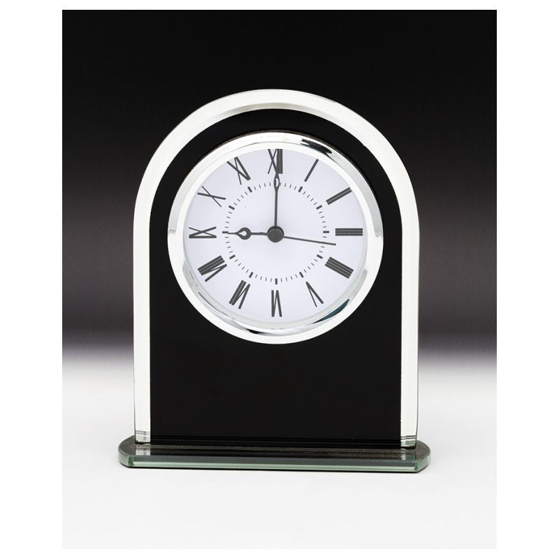 Black Glass Mirror Clock - The Trophy Superstore