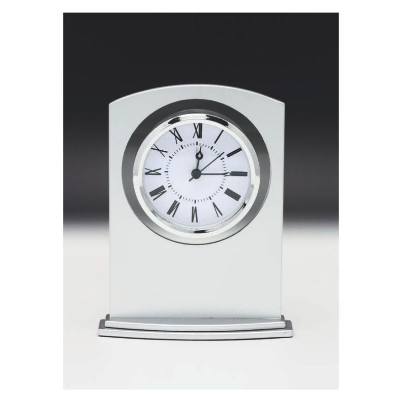 Matte Silver Glass Clock - The Trophy Superstore