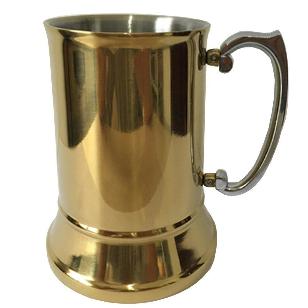 Stainless Steel Beer Mug, Gold Plated - 600ml - The Trophy Superstore