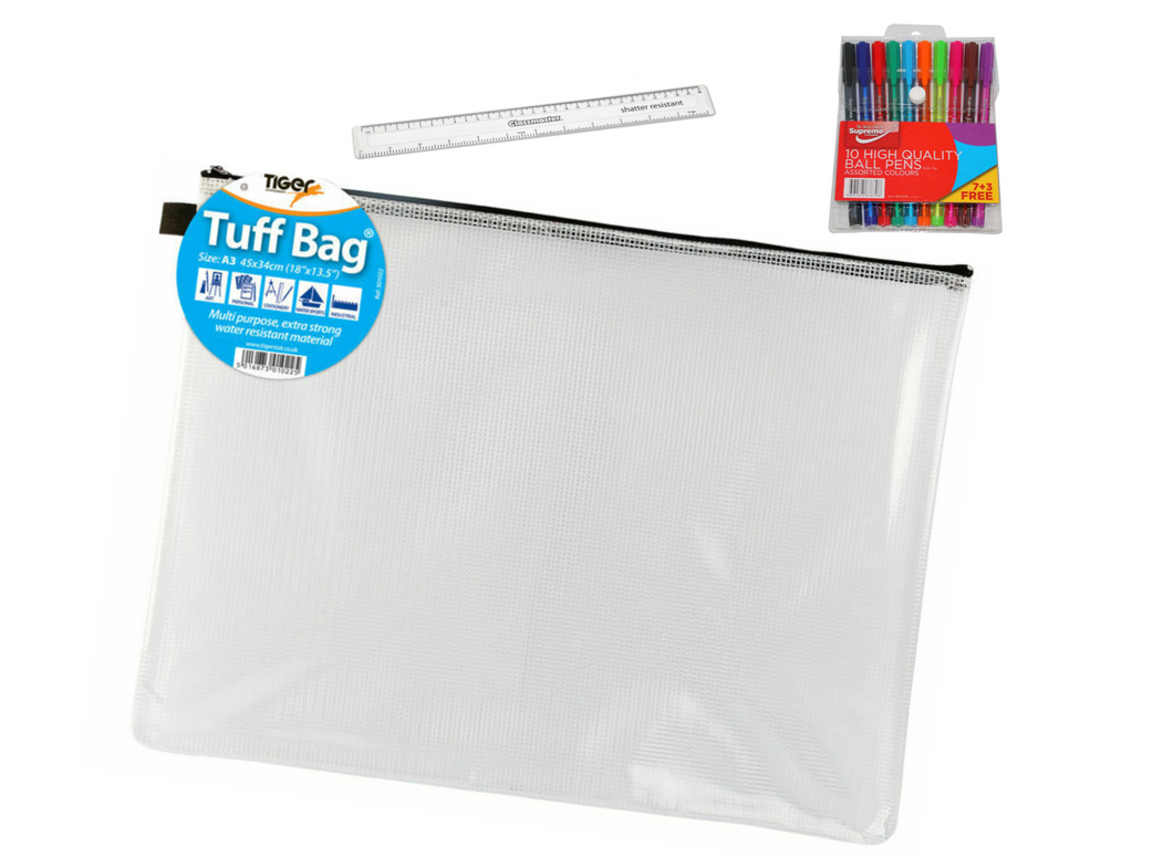 A3 Tuff Bag, Multi-coloured Pen Pack and Ruler