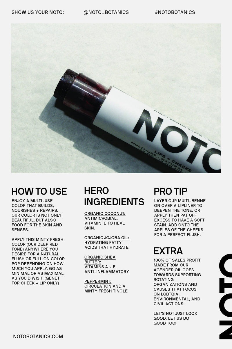 Dark red lip and cheek stain stick from NOTO Botanics