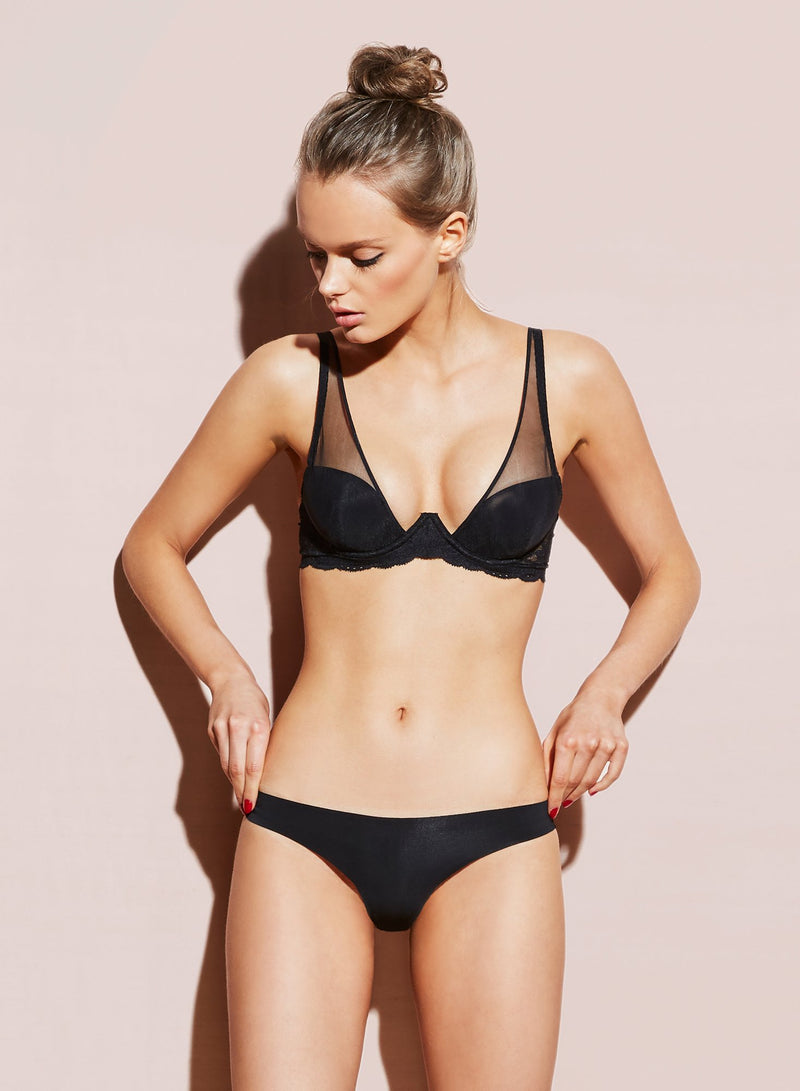 Black Charlotte Lace Seamless Thong by Fleur du Mal
