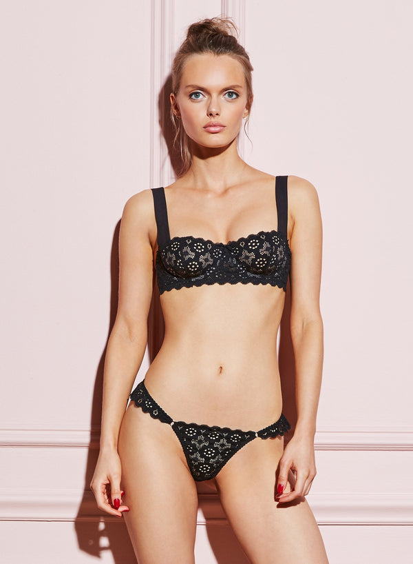 Black Crochet Lace Balconette Bra by Fleur du Mal
