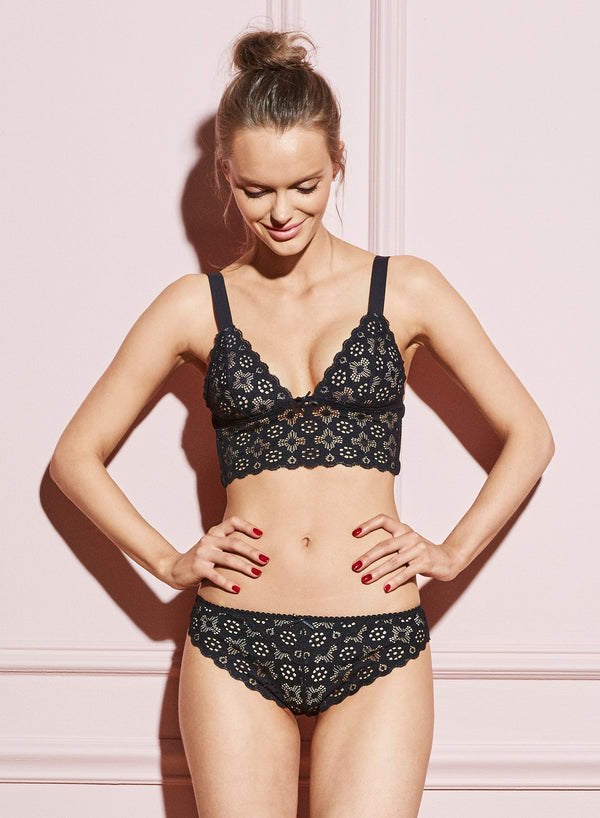 Black Crochet Lace Cheeky by Fleur du Mal