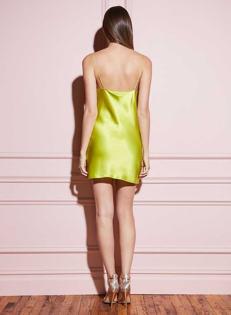 Lime green Short Cowl Neck Slip by Fleur du Mal
