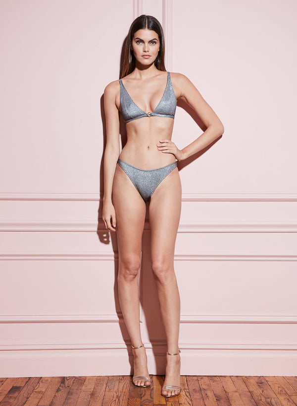 High Leg Bikini Bottom in Disco Grey by Fleur du Mal