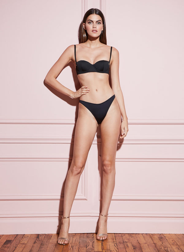 High Leg Bikini Bottom in Black by Fleur du Mal