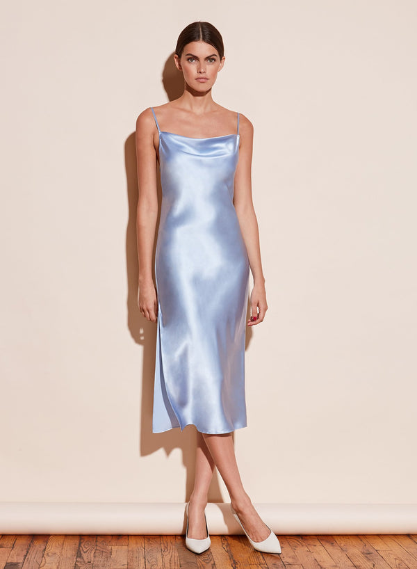 Cowl Neck Slip Dress with Slit in Icy Blue by Fleur du Mal