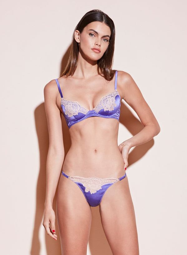 James Lace Padded Demi Bra in Amethyst by Fleur du Mal