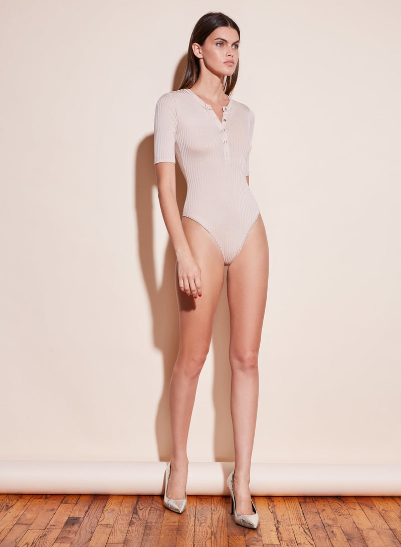 Tan Ribbed Knit Henley Bodysuit by Fleur du Mal