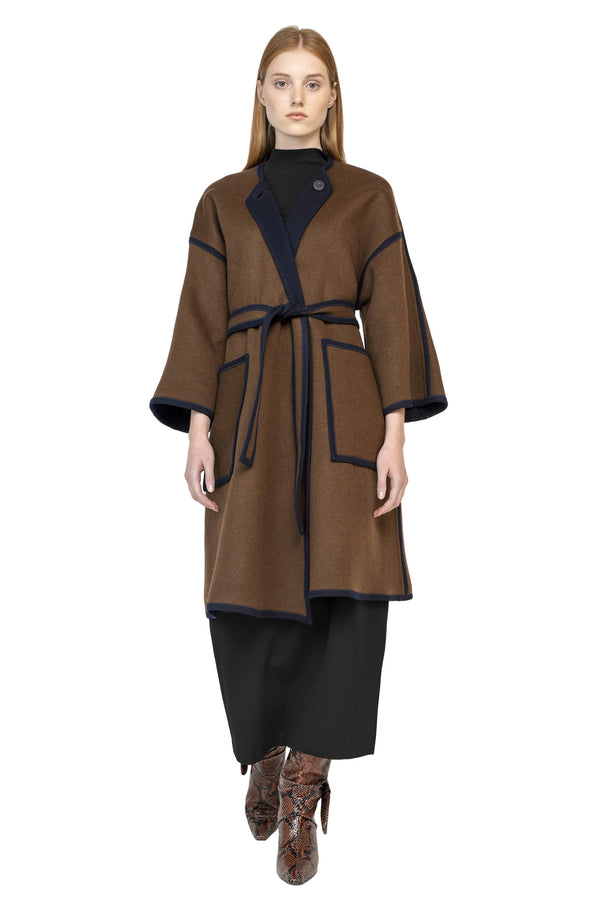 Reversible brown and purple wool coat from Rosetta Getty