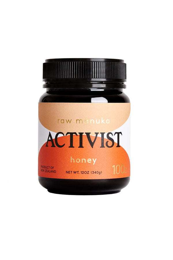 12oz jar of Activist Manuka honey with 100mg Methylglyoxal per kg
