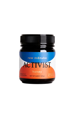 8.8 oz jar of Activist Manuka honey with 850mg Methylglyoxal per kg