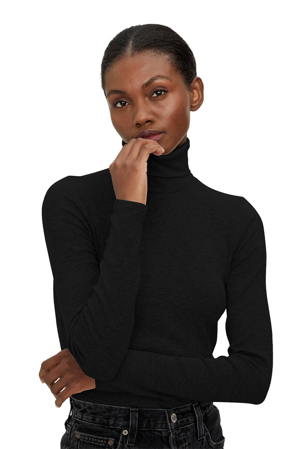 Justine Ribbed Turtleneck Tee