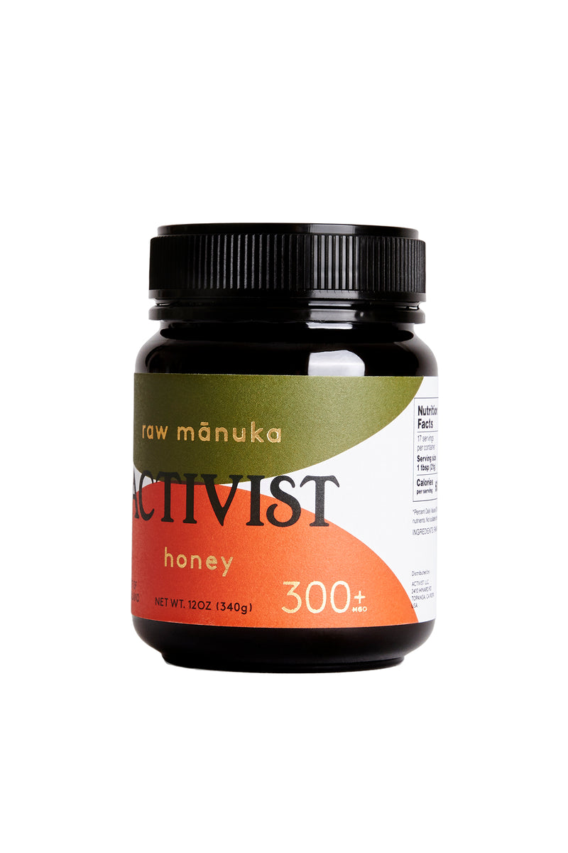 12 oz jar of Activist Manuka honey with 300mg Methylglyoxal per kg