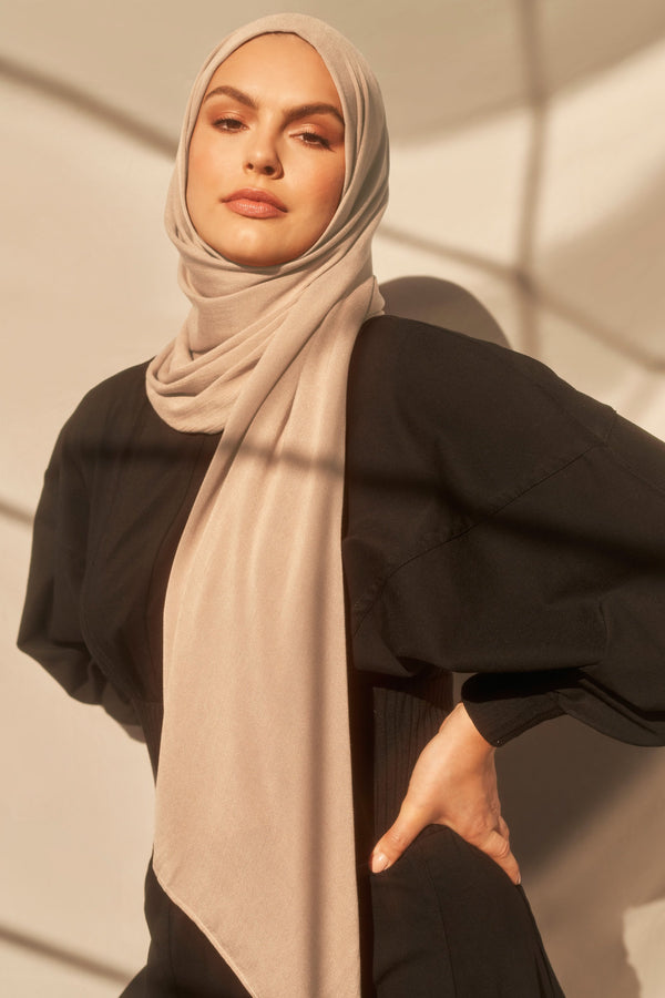 Bamboo Woven Hijab in Sand