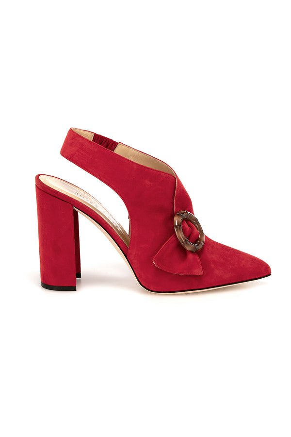 Red suede Alaide heels by Chloe Gosselin