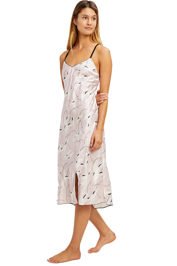 Alivia Night Gown in Dusty Pink with Feather Sky Print | Morgan Lane