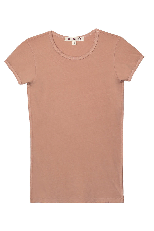 Cap sleeve muted pink baby tee by AMO Denim