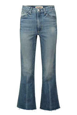 flared frayed High Rise Kick Crop jean by AMO Denim