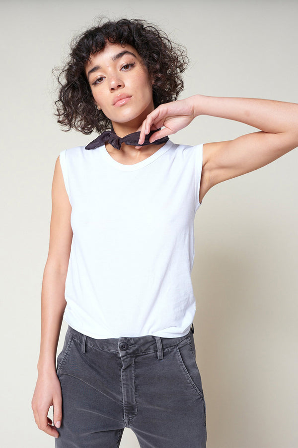 loose white Muscle Tank by AMO Denim