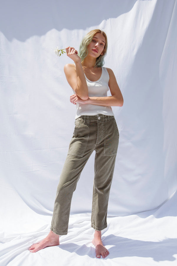High waist straight leg army green pants with front pockets by AMO Denim