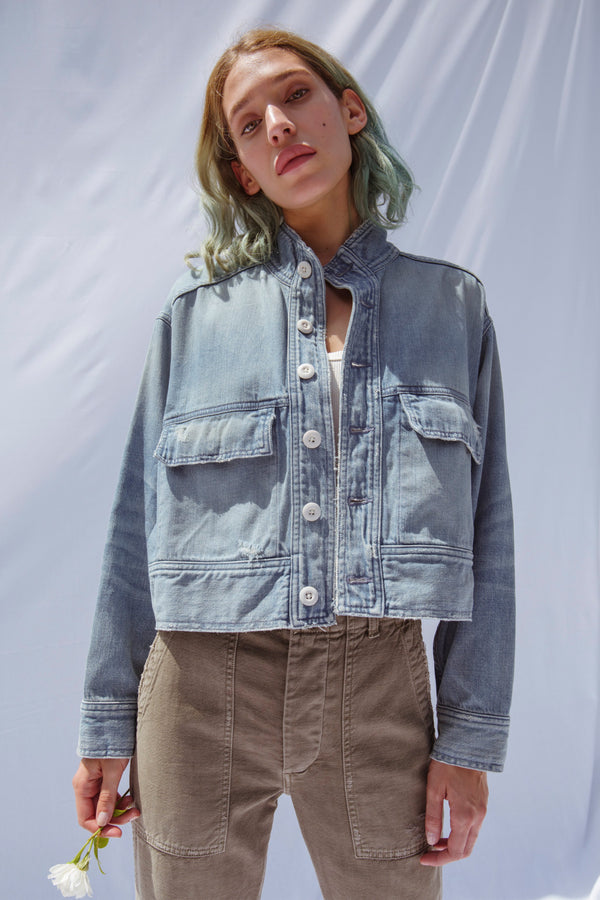 Vintage blue denim Army Patch Jacket by AMO Denim