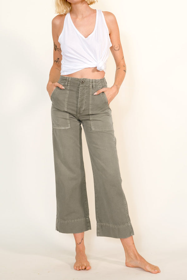 High waisted grey-green Army Wide Leg Jeans by AMO Denim