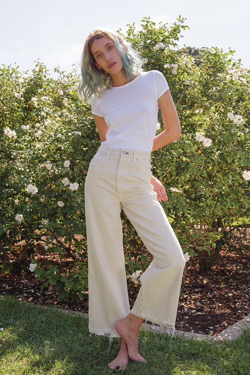 High rise wide leg off-white Ava crop jeans by AMO Denim