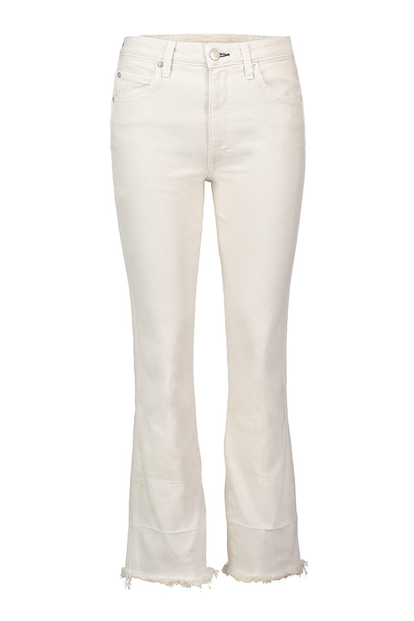 High waisted flared white ankle Bella Jean with Released Hem by AMO Denim
