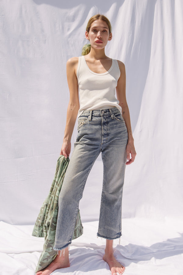 Light wash wide leg Emma crop jeans by AMO Denim