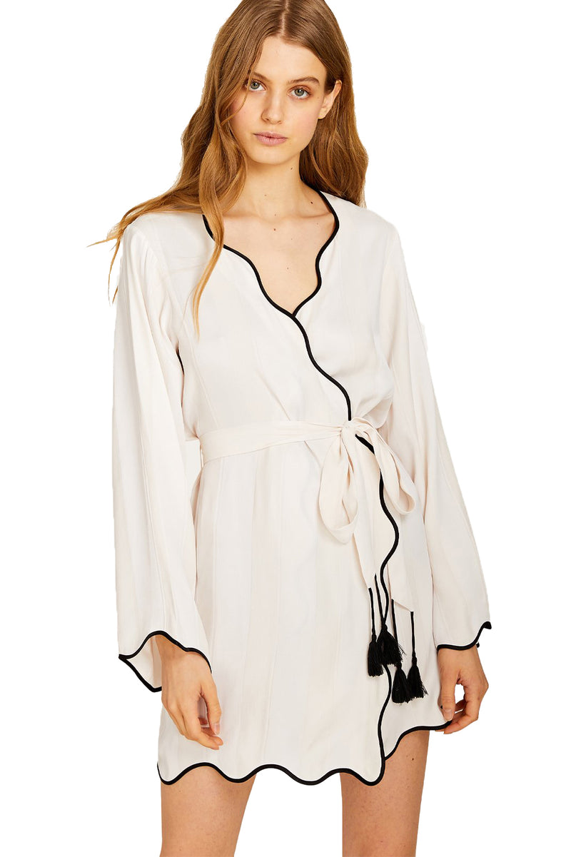 White silk and viscose robe with tassel tie from Morgan Lane