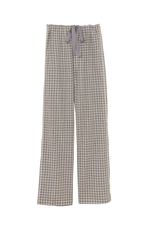 Fog gingham silk Ally pajama pants by Araks