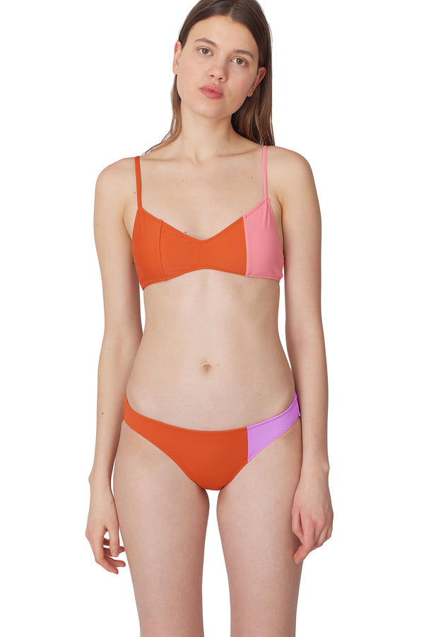 Orange and pink colorblock Elsa bikini top by Araks