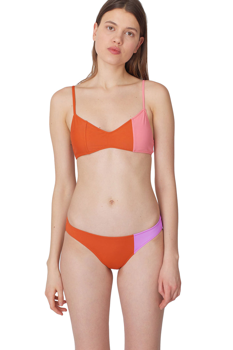 Orange and pink colorblock Enel bikini bottom by Araks