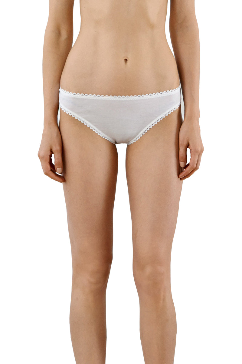 White cotton Isabella panty by Araks
