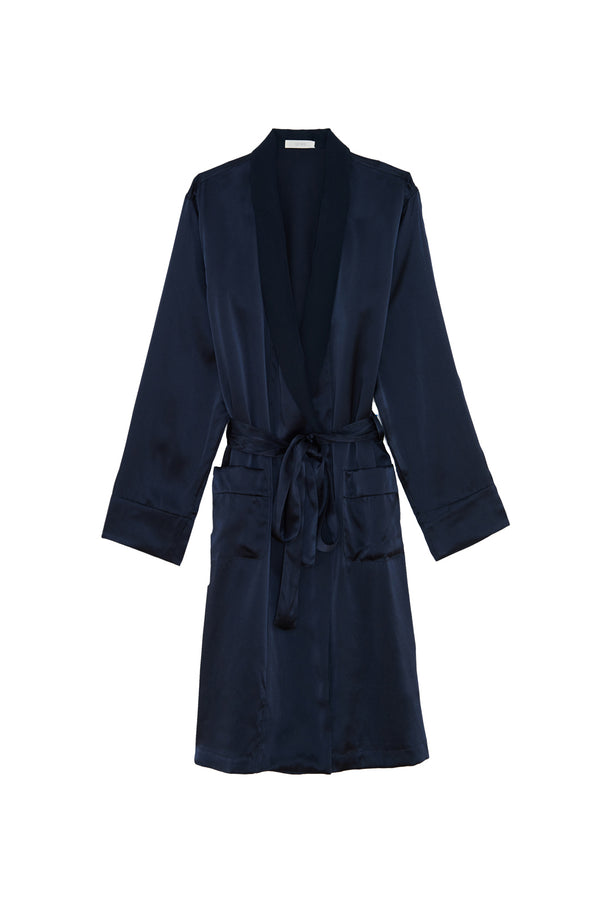 Dark navy silk Kari bathrobe by Araks