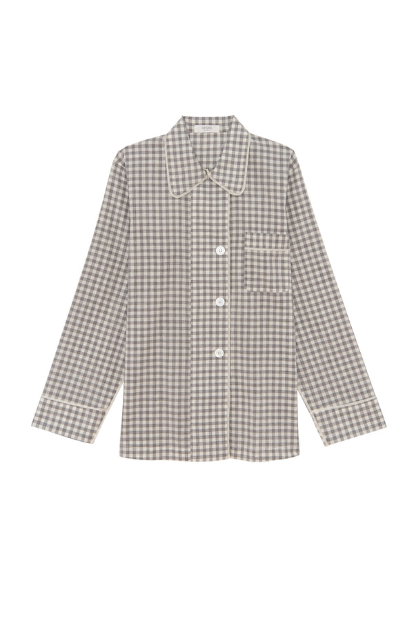 Long sleeve fog gingham Kate pajama top by Araks