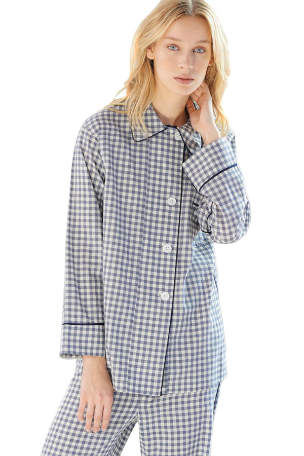 Long sleeve gingham Kate pajama top by Araks